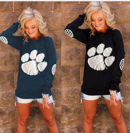 Wholesale Puff Shorts - Women O Neck Long Sleeve Tops Funny Bear Paw Print T-Shirt Hip Hop Patchwork Contrast Color Spring Autumn Femininos Basic Blusas