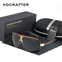 Wholesale oversized accessories - Wholesale- HDCRAFTER Brand Designer Men Oversized Sunglasses 62mm Polarized Lens Driving Brown Sun glasses Vintage Eyewear Accessories