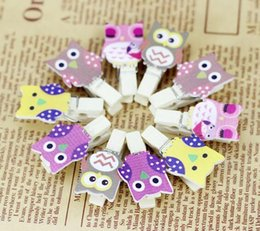 Wholesale Wooden Paper Clips - New 10Pcs Pack Mini owl Wooden Clothes Photo Paper Peg Pin Clothespin Craft Postcard Clips Home wedding Decoration With Rope
