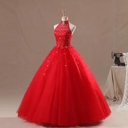 l'abito rosso della sfera di pizzo del collo alto Sconti Cristalli High Neck Ball Gown Red Quinceanera Abiti 2017 in rilievo Vestidos De 15 Anos con Lace Up Back Prom Dresses
