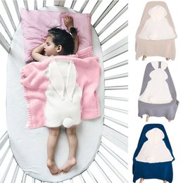 Wholesale Kids Animal Blankets - 4 Color New INS Baby Girls Cute rabbit Knitted Blankets Sleeping Swaddling Sleeping Bags Children Blanket kids Bunny Swaddling KA650