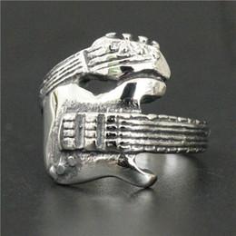 Wholesale Drop Guitar - Size 7 to 12 Drop Sihip Guitar Ring 316L Stainless Steel Polishing Cool Ladies Men Silver Polishing Cool Rock&Roll Music Ring