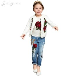 пальто футболка джинсы Скидка Wholesale- 2016 Spring/Autumn Fashion  Lemon/Rose print Girls Clothes 3pc children clothing set 3-13Y Kids Clothes t-shirt+coat+jeans
