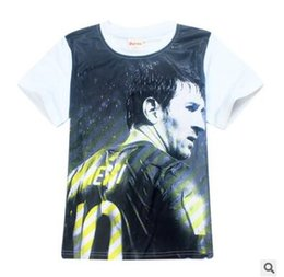 Wholesale Ronaldo T Shirts - Messi Ronaldo Printed Boys t shirt Children Clothing Short Sleeve Tees Teen Baby Clothing Summer Kids Tops Football T-shirt Baby Clothes 605