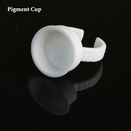 Одноразовые подстаканники онлайн-Wholesale- 500pcs microblading pigment ring cup holder Disposable permanent  ink cup as microblading accesories