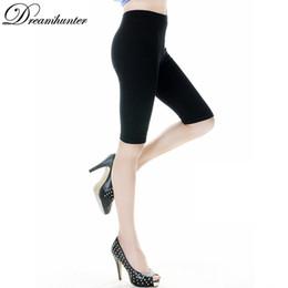 Wholesale Silk Trousers Women - Wholesale- Women Ice Silk Summer Leggings Solid High Elastic Leg Pants Leggings Meryl Capris Girl Skinny Short Trousers Leggin Black White