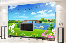 Wholesale Cloud Tv - 3D wall murals wallpaper custom picture mural wall paper Dandelion Blue Sky White Clouds TV background wall home decor
