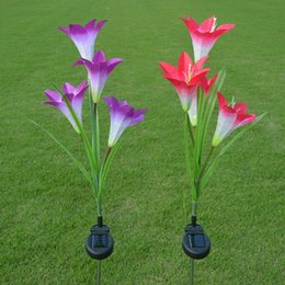 Wholesale Solar Led Lamp Lily - Wholesale- Mabor Purple Red Lily Solar Powered 4 LED Flower Night Light Lamp Garden Yard Decor
