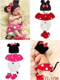 Wholesale Crochet Set Handmade - Newborn Photography Props 100% Handmade Knitted Baby Muts Newborn Photo Props Baby Clothes Sets