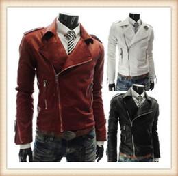 Wholesale Leather Fashion Biker Jacket Men - Men's Leather Jacket Fashion Coat red white Biker Jacket men Homme Jaqueta Couro Masculina PU Leather Mens Punk Veste Cuir