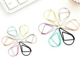 folder papers Promo Codes - 25mm clip metal drop shape paper clips metal clips office clips kawaii bookmark office school stationery