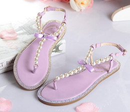 Wholesale Women Denim Wedges - 2017 New bow women's flip-flop shoes Ok flip flops rhinestone pearl sandals female flat women's shoes size 33--43