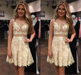Wholesale Vogue Pink - Vogue Gold Lace Appliques Homecoming Dresses 2017 Short A Line Jewel Neckline Cocktail Party Dresses Custom Made