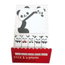 Wholesale Memo Gift Set - New 10 Sets Lot Creative Sticker Mini Panda Shape Animal Sticky Notes Memo Pad Kid Children Gifts School Office Stationery Supplies