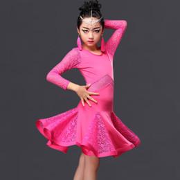 Wholesale Girls Latin Dance Costume - 2016 Children girl kids Latin Dance Dresses Ice Silk&Lace 3Colors Vestido Baile Latino Latin Girl Dance Dress Costume For Dance DQ4056