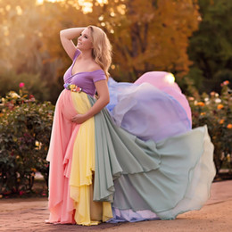 Wholesale Shooting Water - Colorful Chiffon Maternity Dresses For Photo Shoot With Short Sleeves Pregnant Gown Off The Shoulder Custom Made Maxi Dress