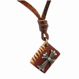 Wholesale Vintage Book Chain - Vintage Book Shape Genuine Leather Jesus Cross Pendant Necklace Men Women Classic Chunky Statement Sweater Choker Colar Bijoux Jewelrys