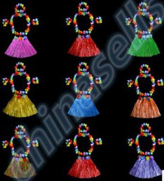 Wholesale Pink Plastic Skirt - Plastic Fibers Women Grass Performance Skirts Hawaiian Hula Skirt set cheerleaders costumes Ladies Dress Up Stage Wear 40CM 5PCS set