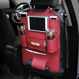 Wholesale Ipad Car Headrest - Back Seat Organizer PU Car Seat multi-purpose Protect Headrest Storage Bag Cup Ipad Holder For Phone iPad