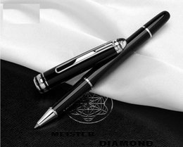 Wholesale platinum designs - Best design-Montel 163 platinum-plated clip and cap with black resin diamond Rollerball pen and ballpoiint pen