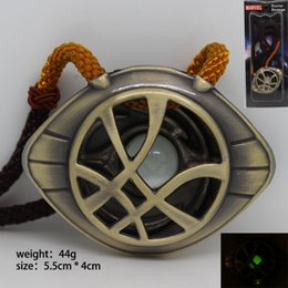 Wholesale Cord Necklaces For Women - Doctor Strange Movie Necklace pendant Fashion jewelry for Men Women kids eye shape leather cord pendant Luminous Necklace NE719