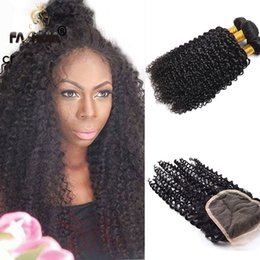 Wholesale kinky permed lace closure - 8A malaysian curly hair with closure jerry curl 3pcs human hair bundles with lace closures malaysian kinky curly maylasian hair with closure