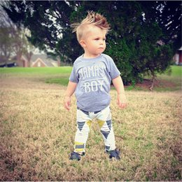 Wholesale European Fashion Set Print - Summer Fashion Baby Boy Boutique Clothes Letter Printed Short Sleeve Boy Tshirt with Pant Clothing set Boy American Style toddler Kids Cloth