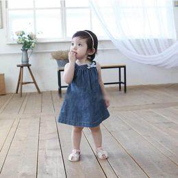 Wholesale Wholesale Girls Size Sundresses - Wholesale- Newest Kids Girls Princess Jean Denim Sundress Bow Straps Baby dress Size 0-3Y