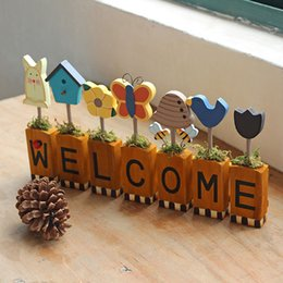Wholesale Welcome Stickers - Welcome Wood Wall Decor Creative Style Design Wall Art Stickers For Home Living Room Design Ideas
