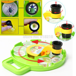 Wholesale Toy Plastic Microscope - Wholesale- Multi-compartment Bug Insect Cage with Field Toy Microscope Magnify Lens Bug Viewer intelligent Educational science kit for kids