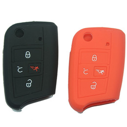 Wholesale Volkswagen Key Fobs - Silicone rubber key fob cover case skin for VW Volkswagen 4 buttons flip folding