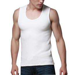 Wholesale Chiffon Nylon Underwear - Wholesale- Men Underwear John Vest Tops Warm Winter Velvet Anti-Pilling Tank Undershirt