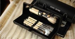 Wholesale Wholesale Mirror Brush Sets - Professional long handle makeup brush, 9 make-up brush set + belt mirror , animal hair