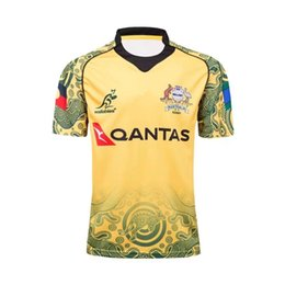Wholesale hot australian - Hot sales 17 18 Australia wallabies rugby shirt 2017 2018 NRL Jersey Australian WALLABY rugby Jerseys Commemorative Edition shirts s-3xl