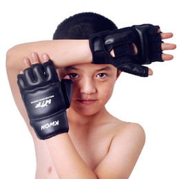 Wholesale Taekwondo Gears - Kids Children half finger Boxing Gloves Mitts Sanda Karate Sandbag Taekwondo Protector Age 3-12