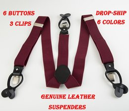 Wholesale Brown Suspenders Button - Wholesale-New bretelles Genuine leather Dual suspenders ligas male men's button suspenders cowhide spaghetti strap braces tirantes 6 color