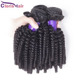 Wholesale Derun Human Weave - Full Head 4 Bundles of Mink Brazilian Kinky Curly Human Hair Weave Cheap Derun Afro Kinky Curly Hair Extensions Overnight Shipping