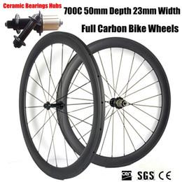 Wholesale Bike Carbon Wheels Sale - Hot Sale 700C 50mm Depth 23mm Width Wheelset Straight Ceramic Bearings Hubs Full Carbon Road Bicycle Bike Wheels Black Spokes Free Gifts