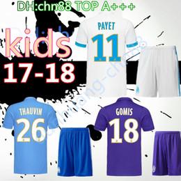 Wholesale Cotton Kit - 2017 2018 Olympique Marseille kids kit Soccer Jersey 17 18 Batshuayi Gignac Maillot de Foot Payet Ocampos Lass Home Shirt top Quality