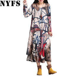 9090933e78f3c2 Großhandels- 2017 Frühling Herbst Frauen Kleid Plus Größe unregelmäßigen  Saum lange Kleid Vintage Baumwolle Leinen Vestidos Robe Kleider (kein  Halstuch)