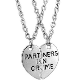 Wholesale Lock Key Necklace Couple - Vintage Silver Heart Lock & Key Partners in Crime Yin Yang Taiji Best Bitches Friend Couple Necklaces Pendants Choker For Women Accessories
