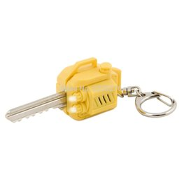 Wholesale Key Cap Light - Wholesale- Free Shipping 1Piece New Chainsaw Sound Effects Key Cover With Light Novelty Keychain Lumberjack Key Cap with Sound & LED Light