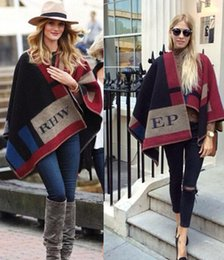 Wholesale Poncho Style Sweaters - Warm Pashmina shawl Wool Cashmere Blanket scarves scarfs Style Cape Sweater Coats patchwork Poncho cloak for women Clothes