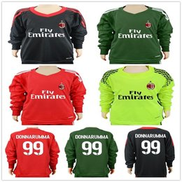 Wholesale Goalkeeper Long Sleeve - Youth AC Milan Long Sleeve Football Jersey 7 DEULOFEU 8 SUSO 9 LAPADULA L.OCAMPOS ZAPATA DONNARUMMA 70 BACCA Kids Goalkeeper Soccer Shirt