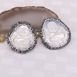 Wholesale Carved Buddha Jewelry - 5pcs Natural White Shell Carved Buddha Pendant, with Pave Crystal Druzy Jewelry Pendant