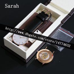 Wholesale Steel Tool Case - Best Version 36mm White Face Leather Women Watch Stainless Steel Casing + Brown Leather Watch Box+Manual+Tag+Tool