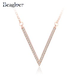 Wholesale Diamond Letter V - Wholesale- Beagloer Fashion V Letter Pendant Necklace Silver Plated Cubic Zirconia Created Diamond Necklaces Wedding Jewelry Gift CNL0226-A
