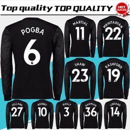 Wholesale Army Men - Long Sleeve #7 ALEXIS away black Soccer Jersey 17 18 #6 POGBA Long Sleeve Soccer Shirt 2018 Customized #11 MARTIAL football uniform Sales