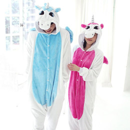 Wholesale Adult Short Onesies - New Flannel Unicorn Pijama Cartoon Cosplay Adult Unisex Homewear Onesies for adults animal Pajamas Women pajama unicornio