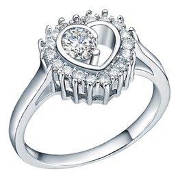 Wholesale Wholesale Jewelries - Promotion New White Gold Jewelry Silver Ring Women Engagment Jewelries CZ Heart Simulated Diamonds Fashion Rings J386